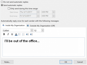 Outlook autosvar