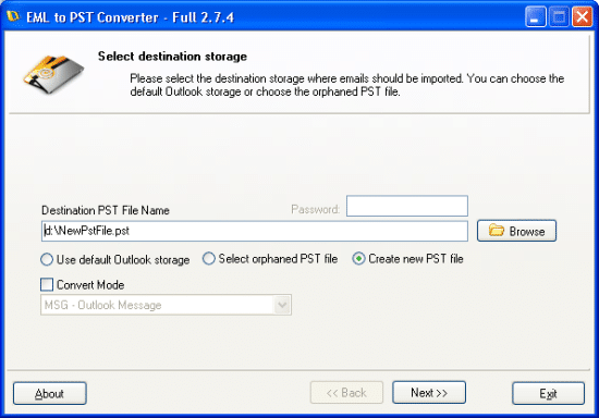 EML to PST messages conversion started