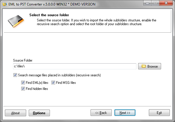 Specify the source folder containing your EML, MSG or another files to be imported