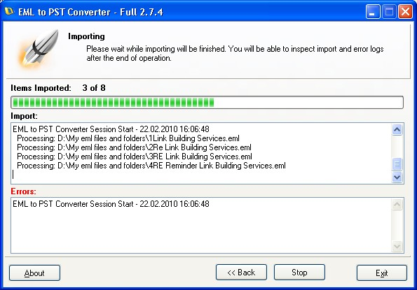 EML to PST Conversion progress