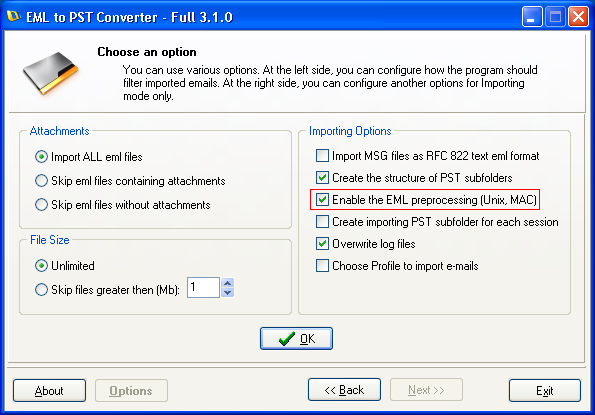 Conversion of Apple Mail to Outlook PST via EMLX exporting